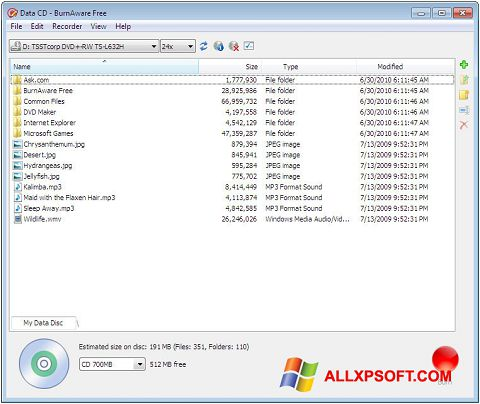 スクリーンショット BurnAware Free Windows XP版