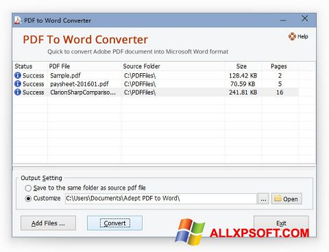 スクリーンショット PDF to Word Converter Windows XP版