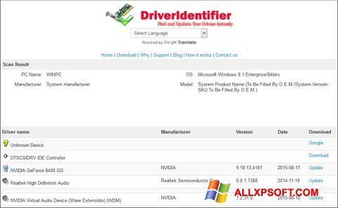 スクリーンショット Driver Identifier Windows XP版