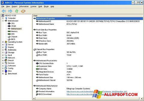 スクリーンショット AIDA32 Windows XP版