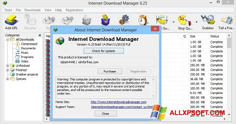 スクリーンショット Internet Download Manager Windows XP版