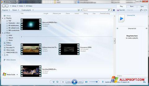 スクリーンショット Media Player Windows XP版