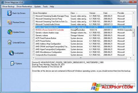 スクリーンショット Driver Magician Windows XP版