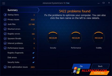 スクリーンショット Advanced SystemCare Free Windows XP版