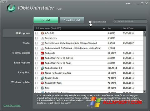 スクリーンショット IObit Uninstaller Windows XP版