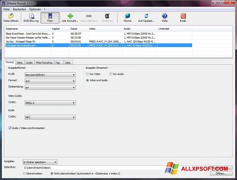 スクリーンショット XMedia Recode Windows XP版