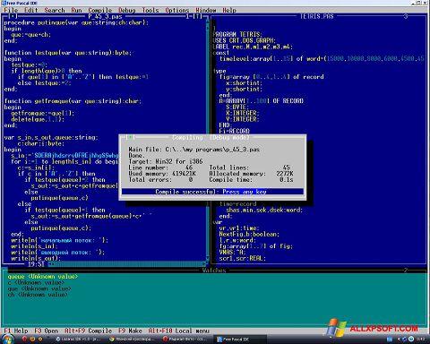 スクリーンショット Free Pascal Windows XP版