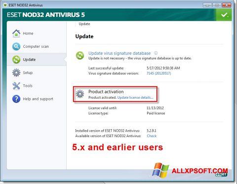 スクリーンショット ESET NOD32 Windows XP版
