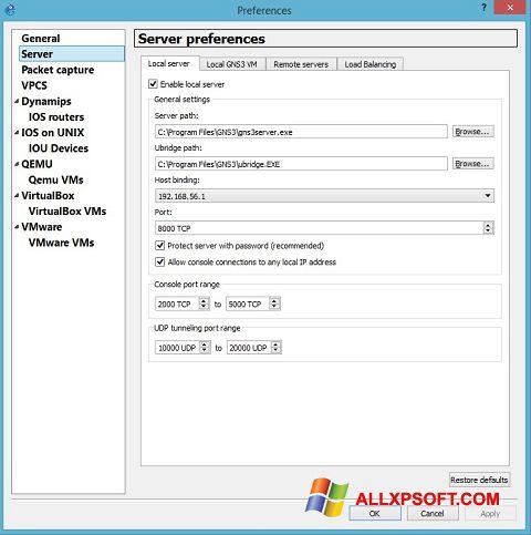 スクリーンショット GNS3 Windows XP版